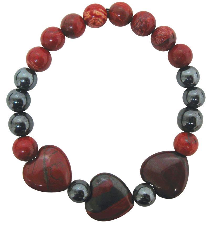 d6d5a7d44d14ae Hematite & Braciated Jasper Bead Stretch Bracelet (BE-987)