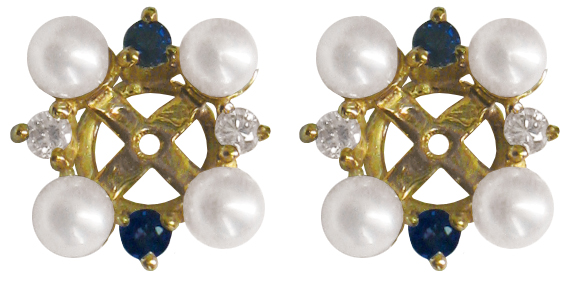 Akoya Cultured Pearl Blue Shire Diamond Earring Jackets In 14kt Yellow Gold Prlj 107
