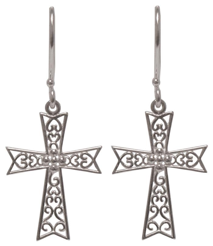 2f3d87c56 Southern Gates Filigree Cross Earrings in Sterling Silver (SS-2064)
